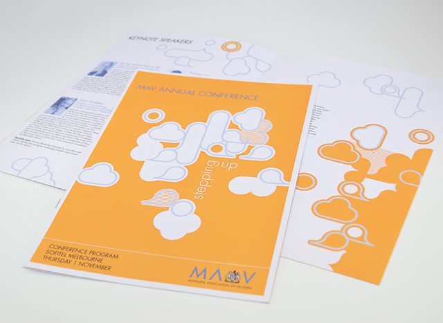 MAV Stepping Up booklet cover by Hatch Creative, Melbourne
