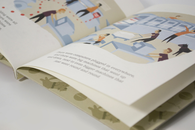 Printers moving announcement book inside spread by Hatch Creative, Melbourne